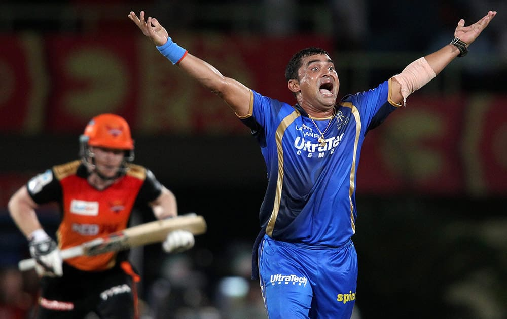 Pravin Tambe of Rajasthan Royals appeals successfully for LBW to get Eoin Morgan of Sunrisers Hyderabad wicket during their Pepsi IPL 2015 match in Visakhapatnam.