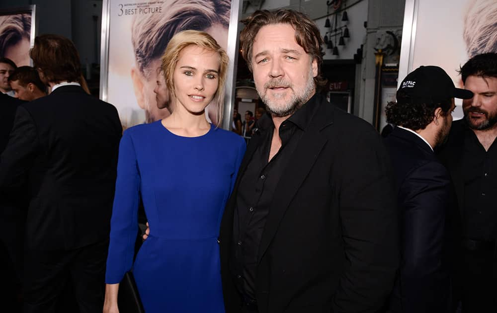 Actor Russell Crowe and actress Isabel Lucas attend the premiere of the feature film 'The Water Diviner' in Los Angeles.
