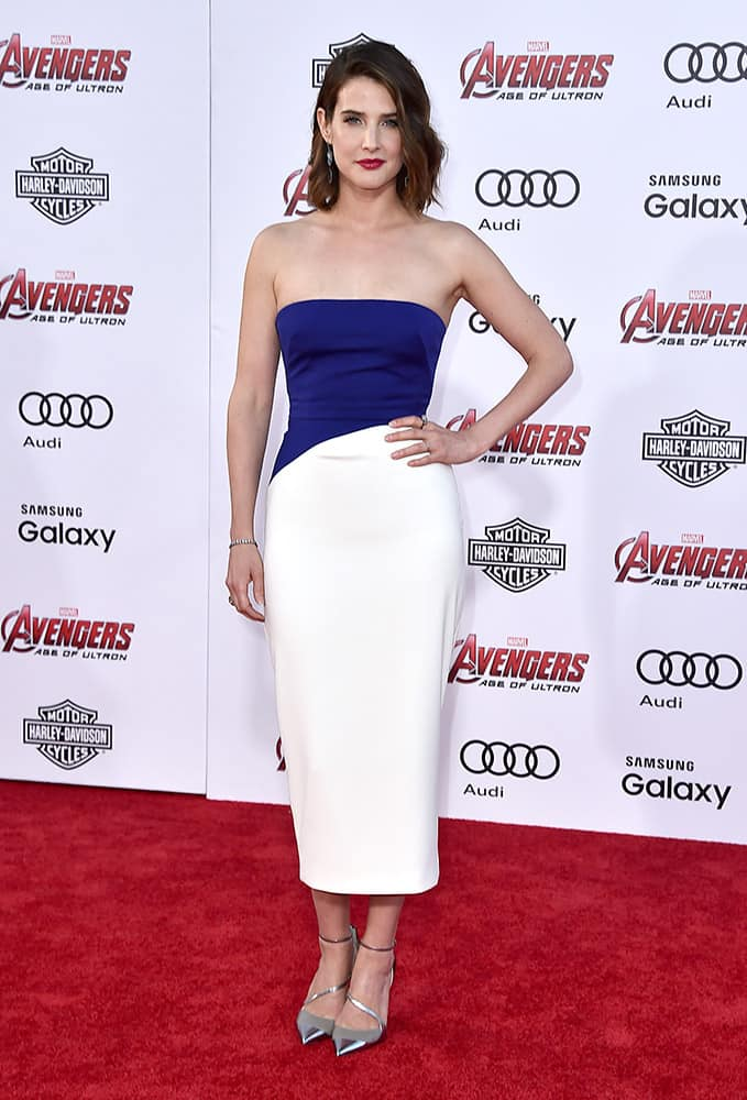 Cobie Smulders arrives at the Los Angeles premiere of 'Avengers: Age Of Ultron' at the Dolby Theatre.