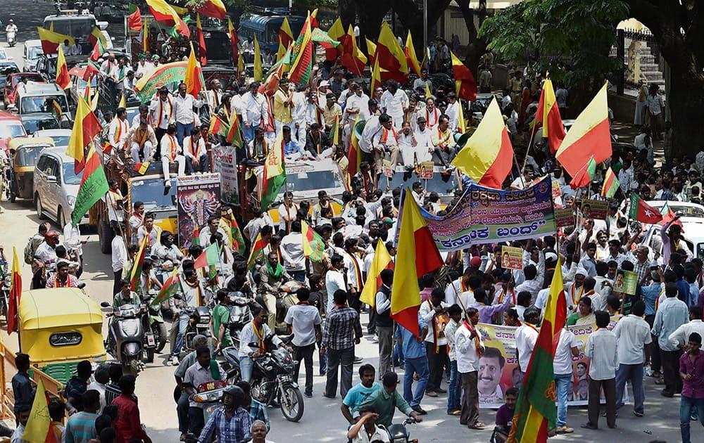 Kannada activists protest against Tamilnadu government during the Karnataka Bandh in support of building a dam at Mekedaatu, in Bengaluru.