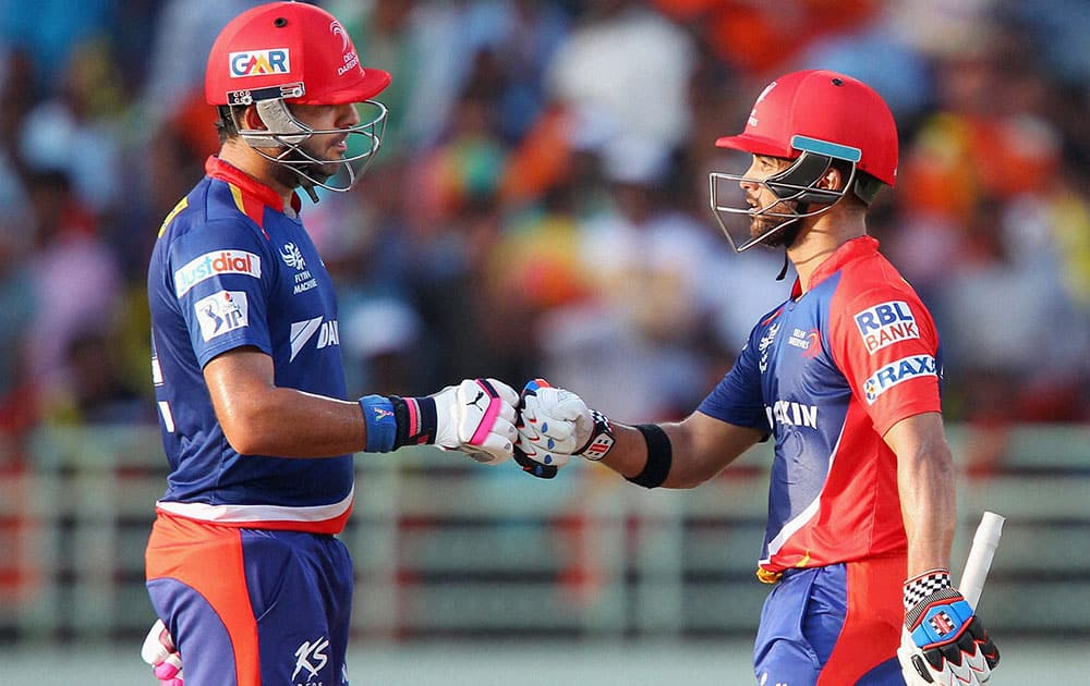 Yuvraj Sing of the Delhi Daredevils and Jean-Paul Duminy captain of the Delhi Daredevils during the IPL match Sunrisers Hyderabad in Visakhapatnam.