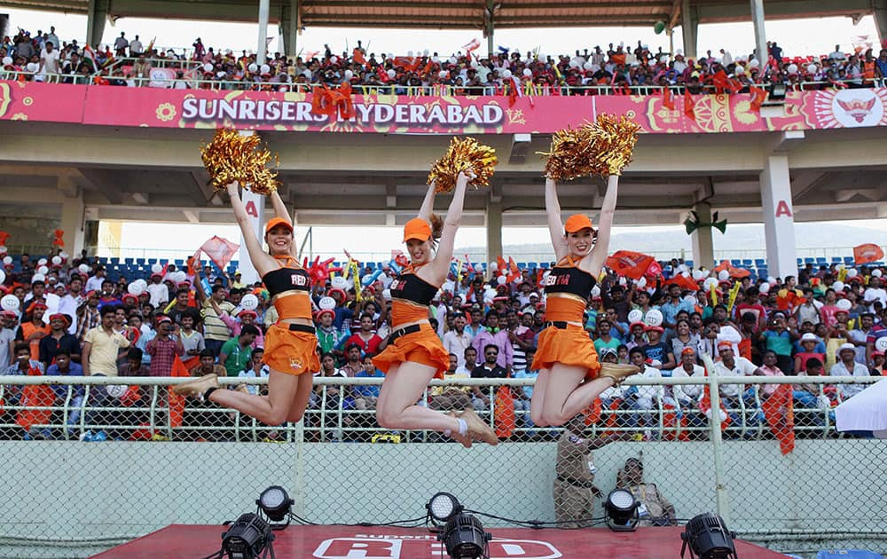 Cheargirls performing during the IPL match between Sunrisers Hyderabad and Delhi Daredevils in Visakhapatnam.