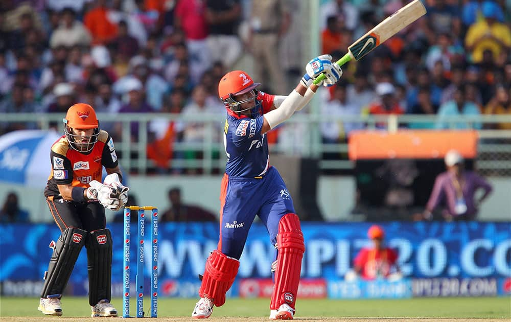 Shreyas Iyer of the Delhi Daredevils hits over the top for six during IPL match against Sunrisers Hyderabad in Visakhapatnam.