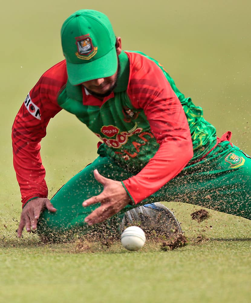 Bangladesh's Mominul Haque fields during the second one-day international cricket match against Pakistan in Dhaka.