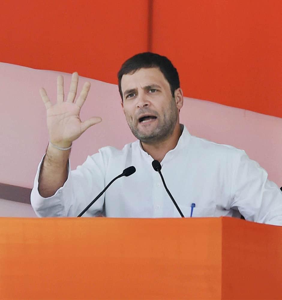 Congress Vice President Rahul Gandhi addresses the large gathering during the farmers rally at Ramlila Maidan in New Delhi.