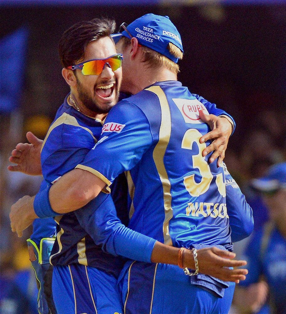 Rajasthan Royals celebrate after taking down Faf du Plessis wicket at Motera Stadium in Ahmedabad.