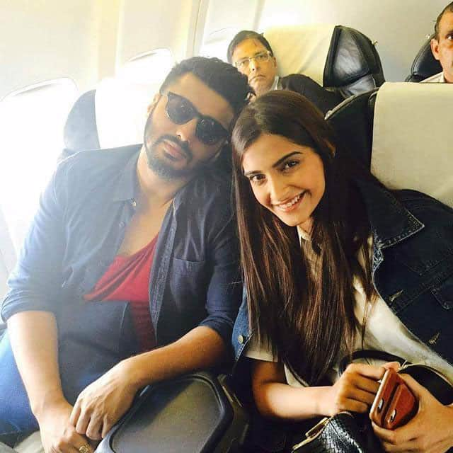 Cousins Arjun and Sonam kapoor spotted on their way to Delhi for Yuva Awards yesterday. -twitter