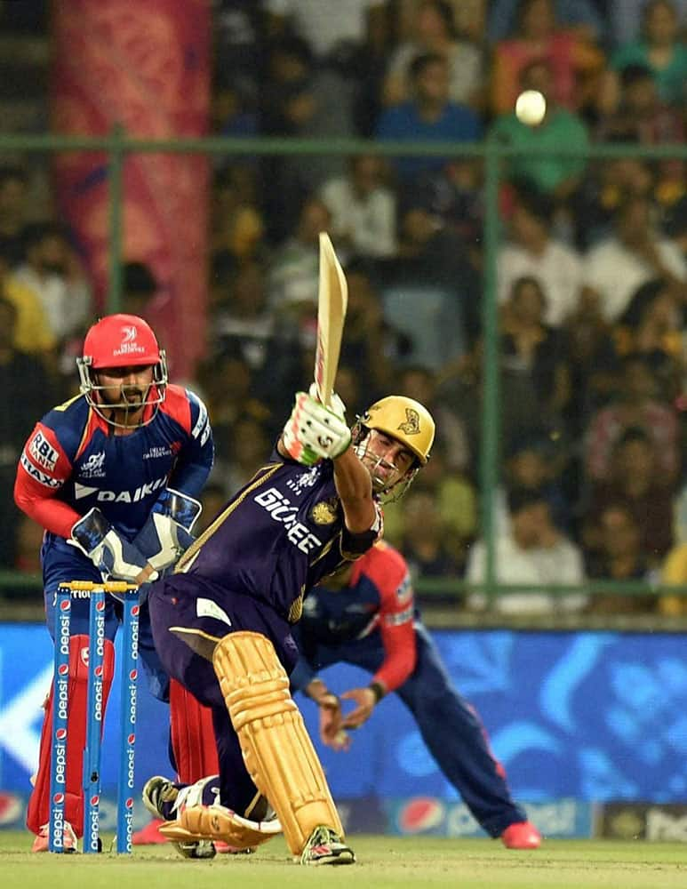 Gautam Gambhir of Kolkata Knight Riders plays a shot during their IPL match against Delhi Daredevils at Feroz Shah Kotla Stadium in New Delhi.