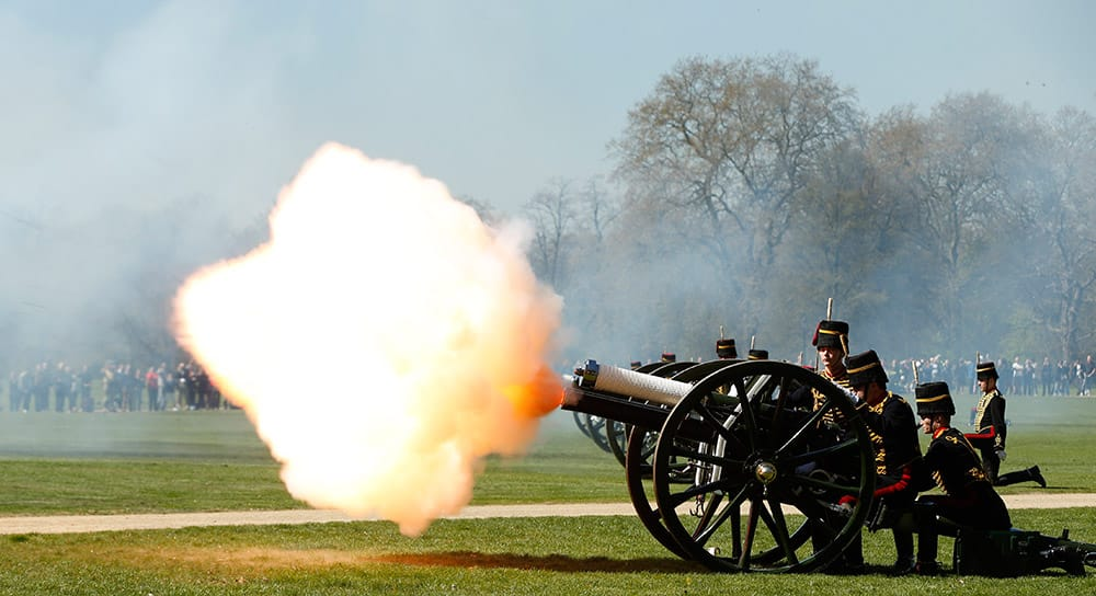 Members of the King's Troop Royal Horse Artillery fire a salvo during a 41 gun Royal Salute to celebrate the birthday of Queen Elizabeth II in Hyde Park in London. Some 71 horse pulled six World War I era 13 pounder field guns in the park for the salute.