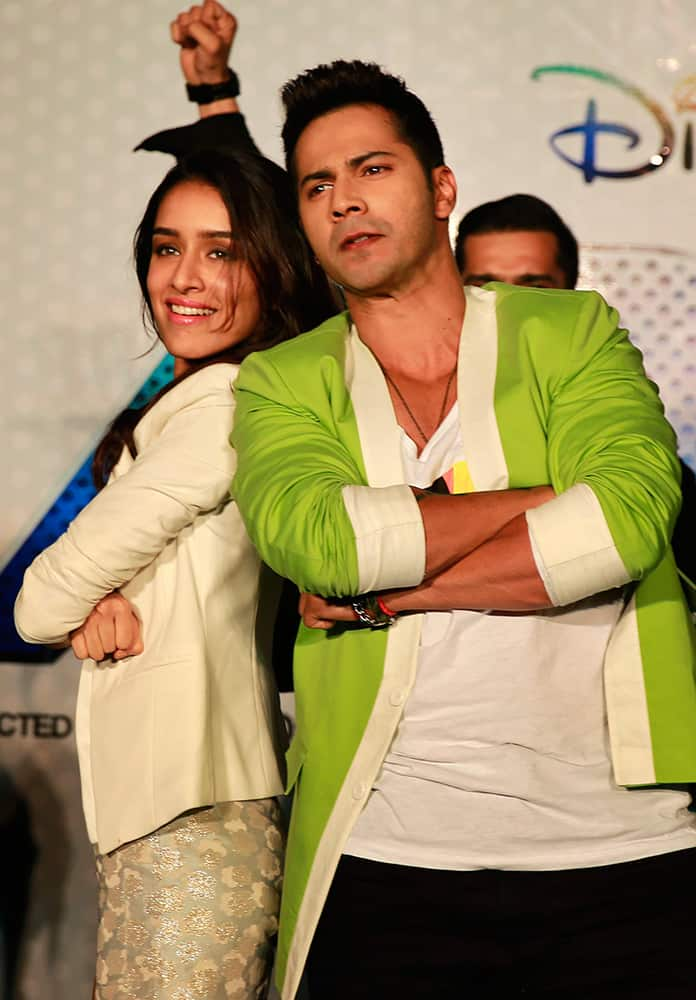Varun Dhawan and Shraddha Kapoor perform during the trailer unveiling of ABCD 2 (Any Body Can Dance 2) in Mumbai.