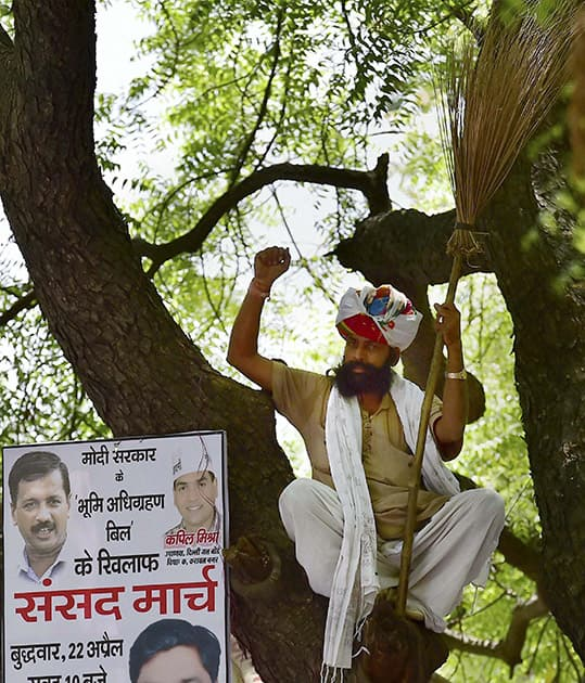 Gajendra Singh sitting in a tree during Aam Aadmi Party (AAP)s rally against the Union governments Land Acquisition Bill at Jantar Mantar in New Delhi.