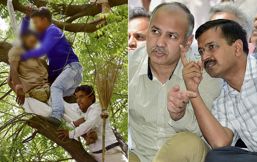 Delhi CM Arvind Kejriwal and his deputy Manish Sisodia looking at a farmer who attempted suicide during Aam Aadmi Party (AAP)s rally against the Union governments Land Acquisition Bill at Jantar Mantar in New Delhi.