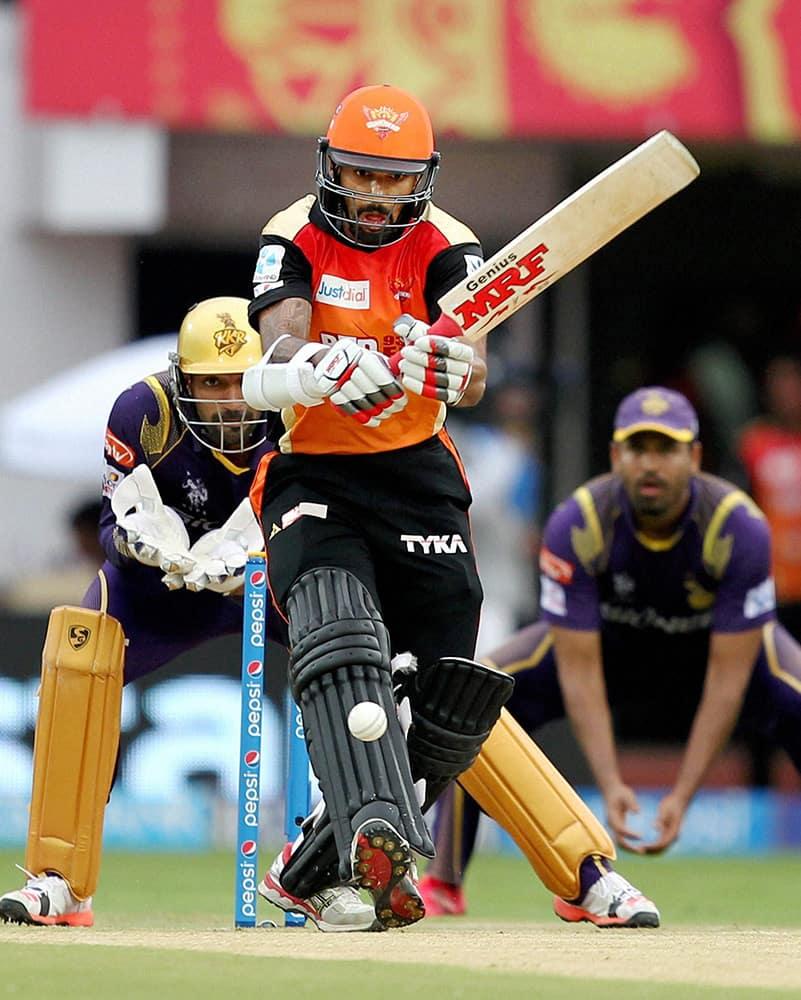 Shikhar Dhawan of Sunrisers Hyderabad plays a shot during their IPL T20 match against Kolkata Knight Riders in Visakhapatnam.