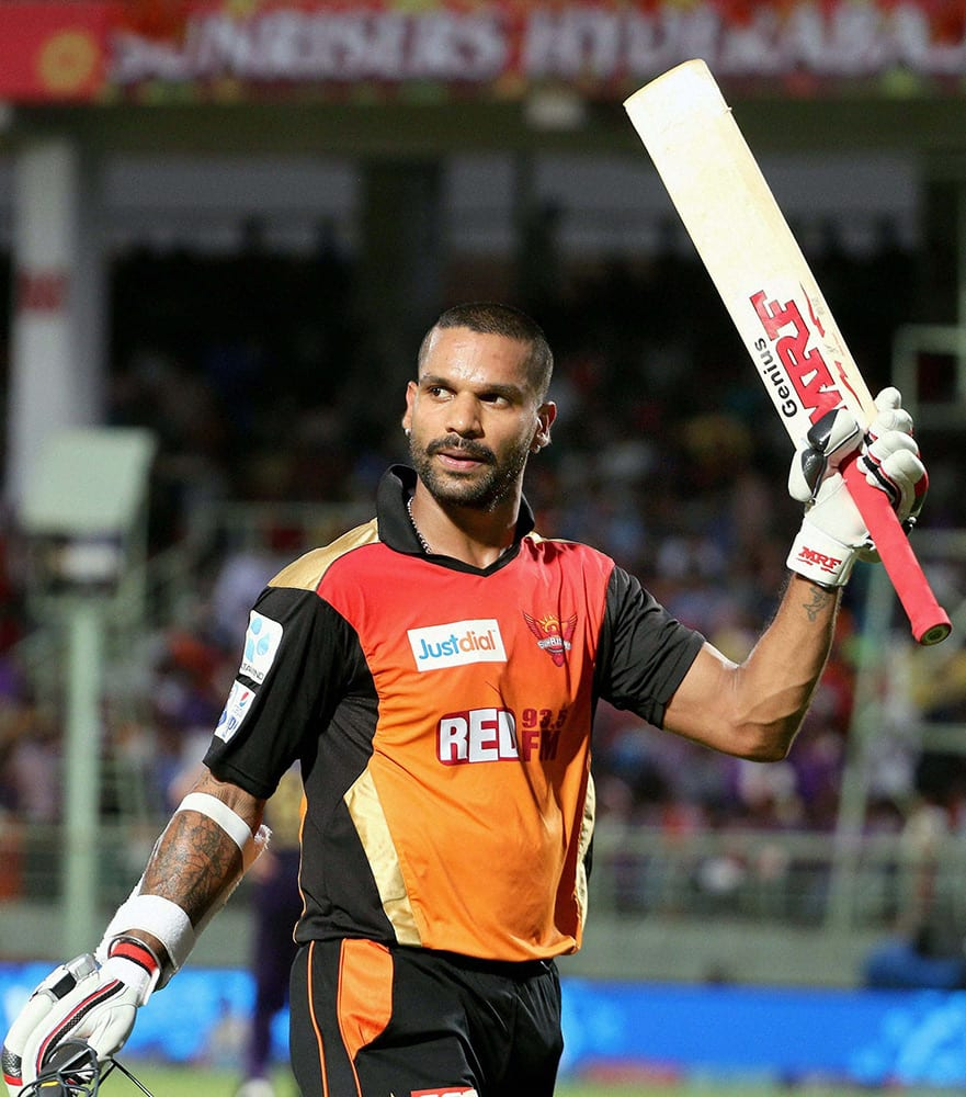 Shikhar Dhawan of the Sunrisers Hyderabad celebrates his fifty during their IPL T20 match against Kolkata Knight Riders in Visakhapatnam.