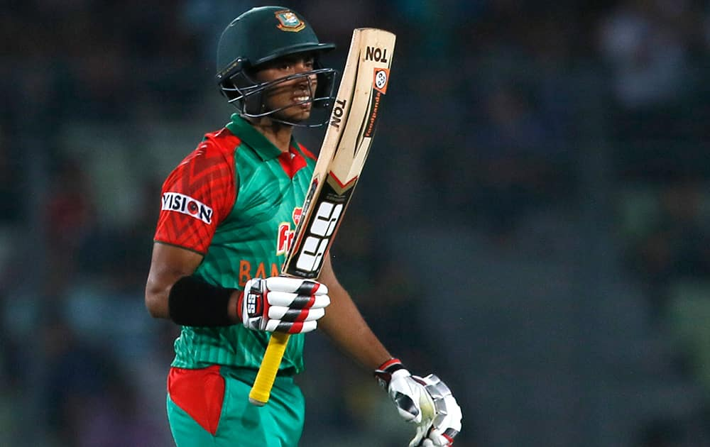 Bangladesh's Soumya Sarkar acknowledges the crowd after scoring fifty runs during the third one-day international cricket match against Pakistan in Dhaka, Bangladesh.