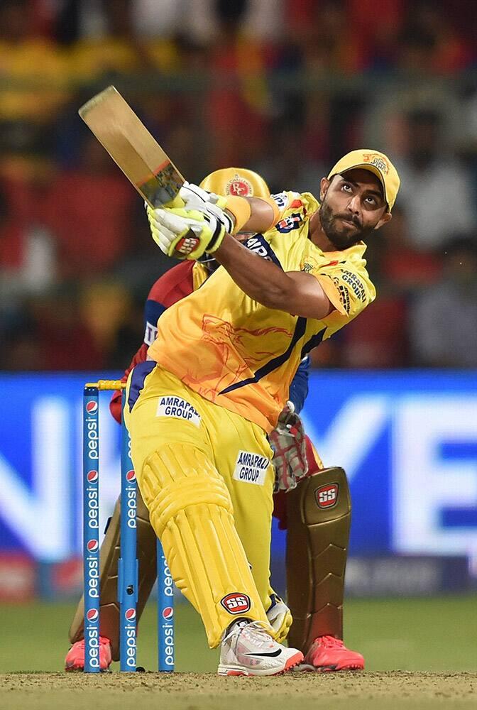 Chennai Super Kings Ravindra Jadeja plays a shot during IPL 8 against Royal Challengers Bangalore match at Bengaluru.