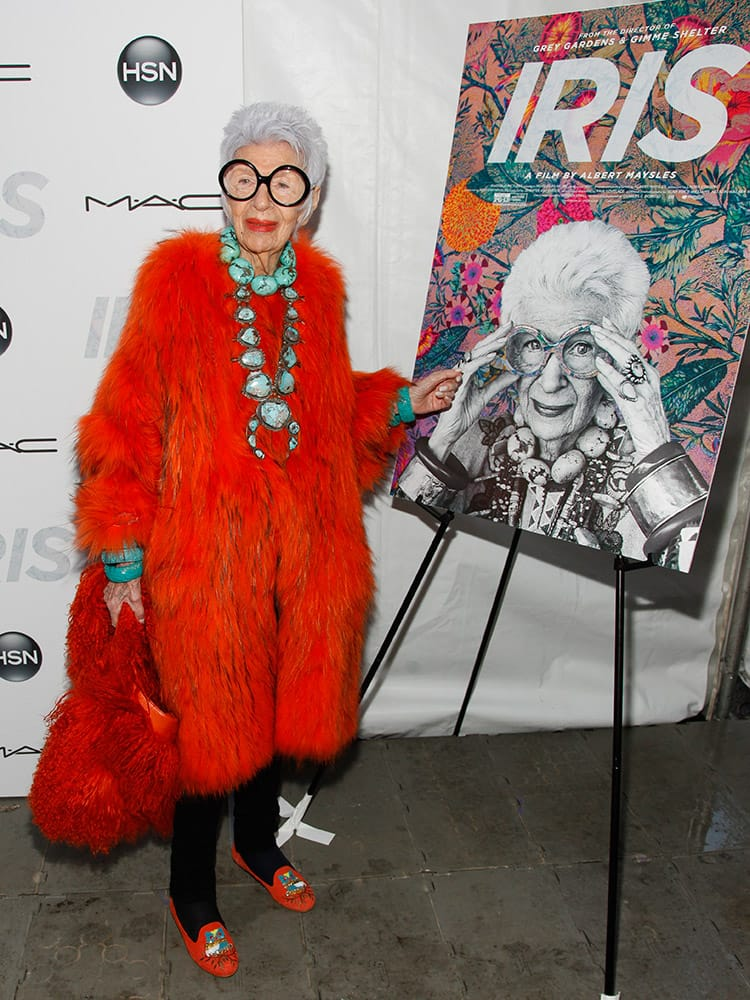 Iris Apfel attends the premiere of