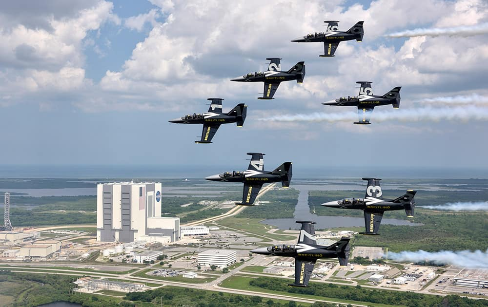 The Breitling Jet Team fly past the Kennedy Space Center in Florida, USA, ahead of the start of their inaugural North American Tour.