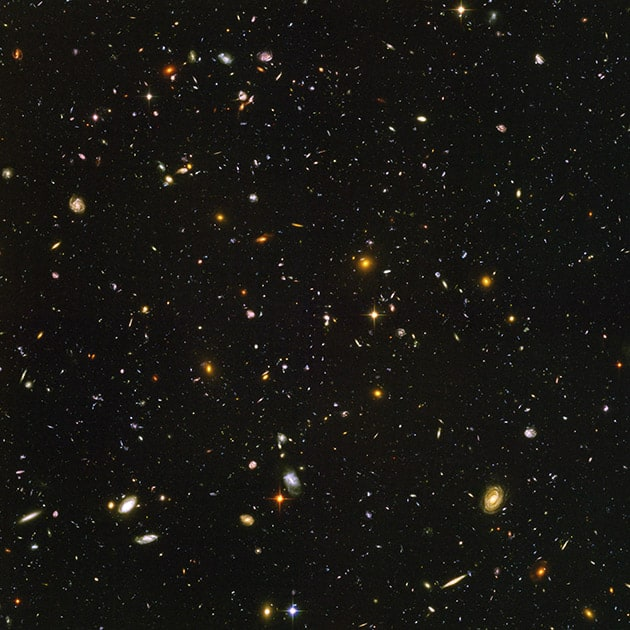 This image made by the NASA/ESA Hubble Space Telescope shows nearly 10,000 galaxies in the deepest visible-light image of the cosmos, cutting across billions of light-years. The Hubble Space Telescope marks its 25th anniversary.