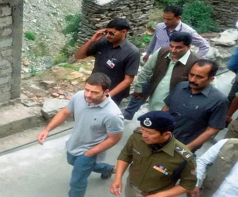 Congress Vice President Rahul Gandhi heading Lincholi near Gaurikund on his way Kedarnath.