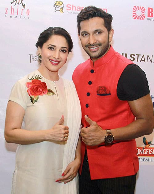 Bollywood actor Madhuri Dixit Nene and choreographer Terence Lewis during the launch of five day long contemporary dance festival Jugnee in Mumbai.