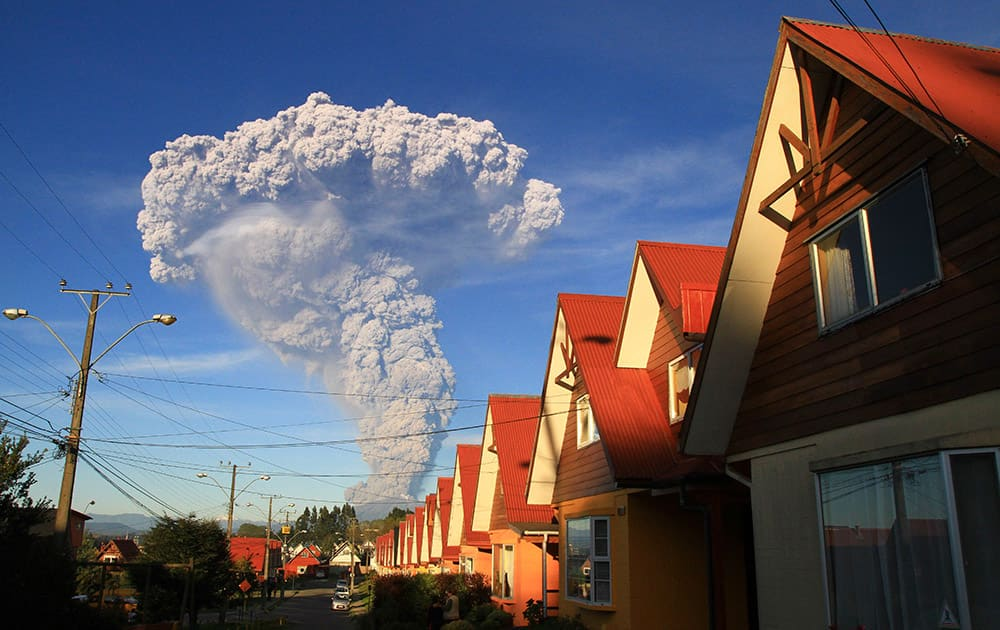 The Calbuco volcano is seen erupting from Puerto Varas, Chile.
