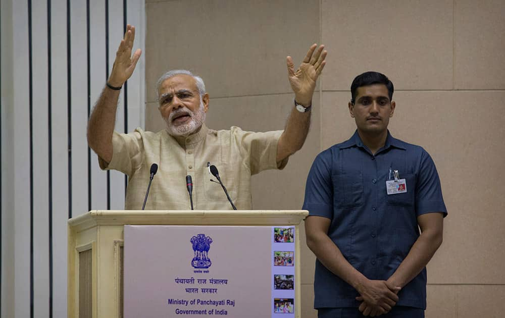 Prime Minister Narendra Modi delivers the inaugural speech during an event to mark the national Panchayati Raj in New Delhi.