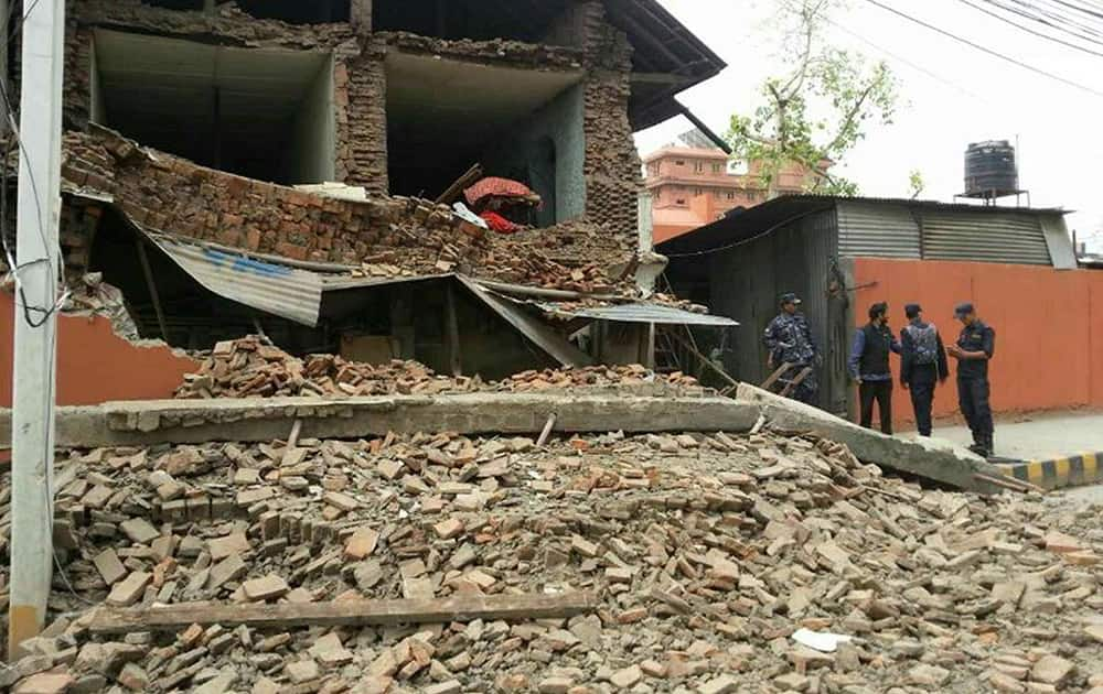 A collapsed building is seen in Nepal's capital Kathmandu.