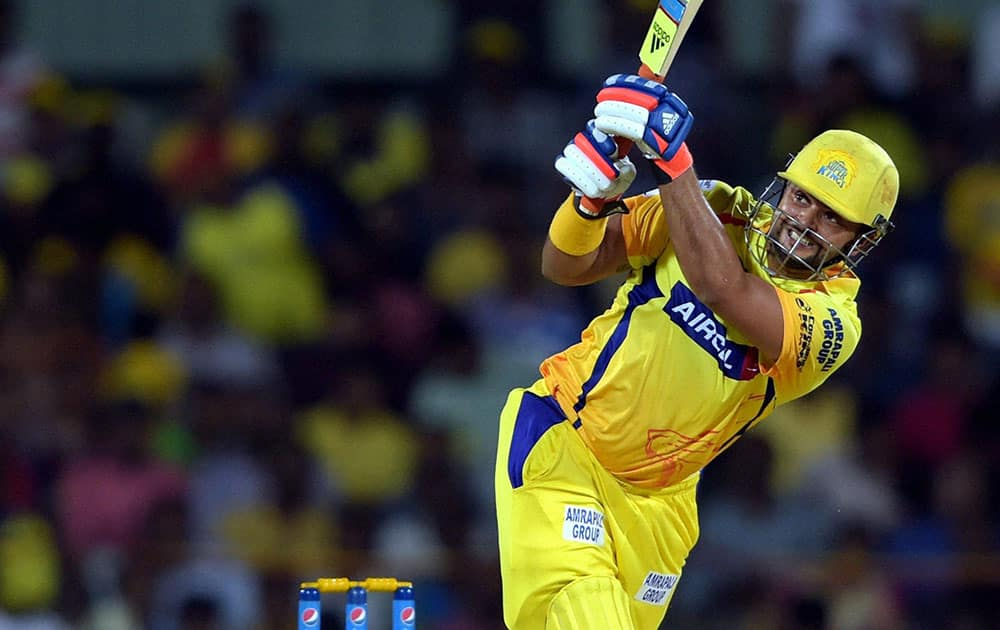 Chennai Super Kings' player Suresh Raina plays a shot during the IPL-2015 match against Kings XI Punjab at MAC Stadium in Chennai.