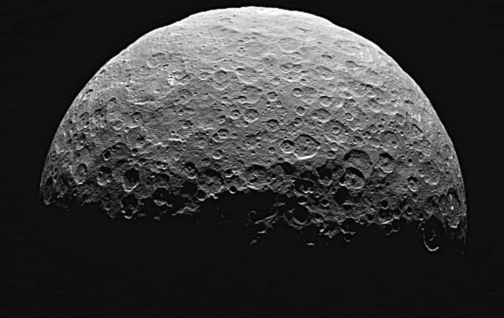 This photo from a sequence of images provided by NASA, taken from the Dawn spacecraft of Ceres, a dwarf planet located in the asteroid belt between Mars and Jupiter.