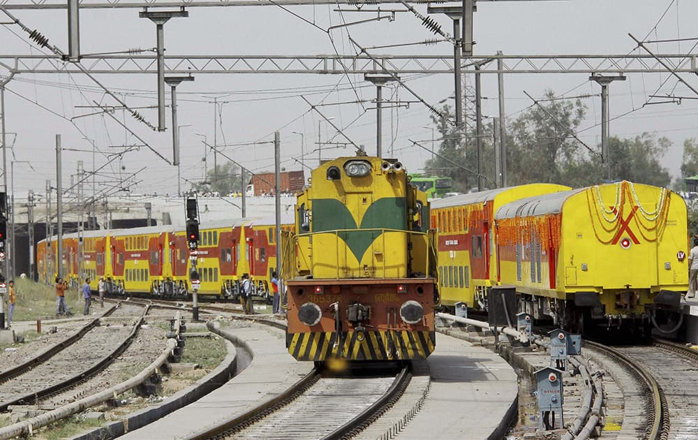 Double decker train which was flagged off by Union Home Minister Rajnath Singh from Delhi to Lucknow at Anand Vihar Railway station, New Delhi.