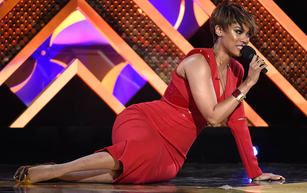 Host Tyra Banks speaks at the 42nd annual Daytime Emmy Awards at Warner Bros. Studios.