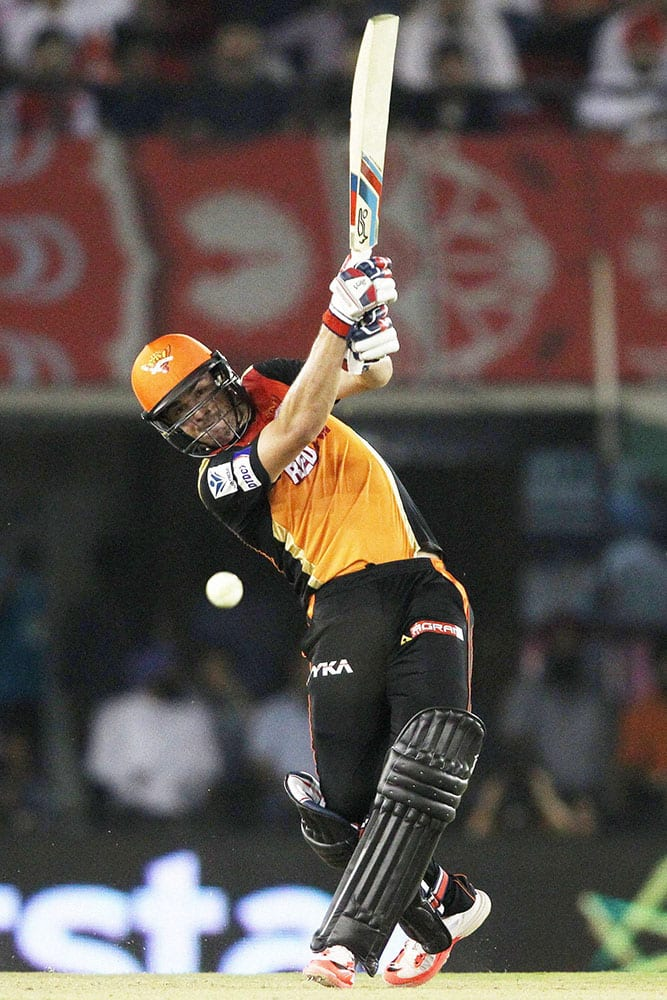 Sunrisers Hyderabads Moises Henriques plays a shot during an IPL match against Kings XI Punjab in Mohali.
