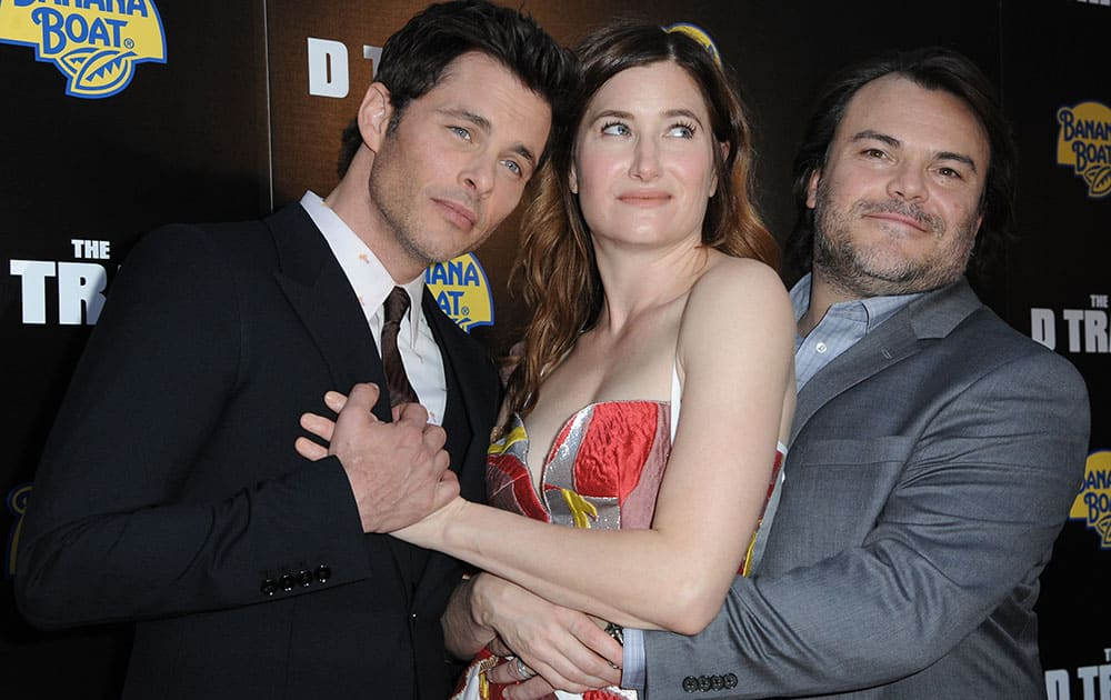 ames Marsden, from left, Kathryn Hahn, and Jack Black arrive at the LA Premiere of