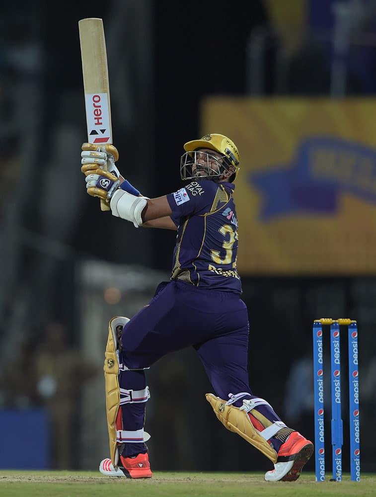 Kolkata Kinght Riders Robin Uthappa plays a shot against Chennai Super Kings during an IPL match at MAC Stadium in Chennai.