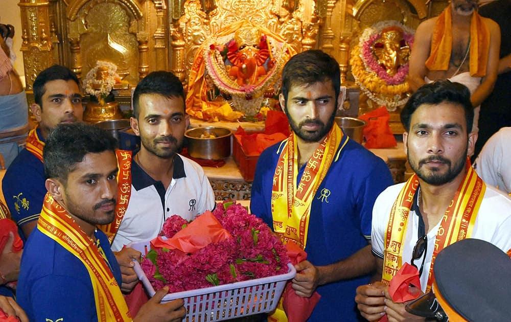 Rajasthan Royals players Karun Nair, Dishant Yagnik, Ajinkya Rahane, Abhishek Nair and Ankit Sharma during their visit to Siddhivinayak temple in Mumbai.