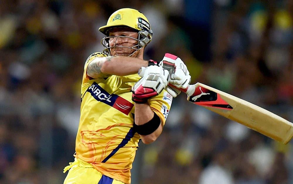 CSK batsman Brendon Barrie McCullum plays a shot during an IPL match against KKR at Eden Garden in Kolkata.