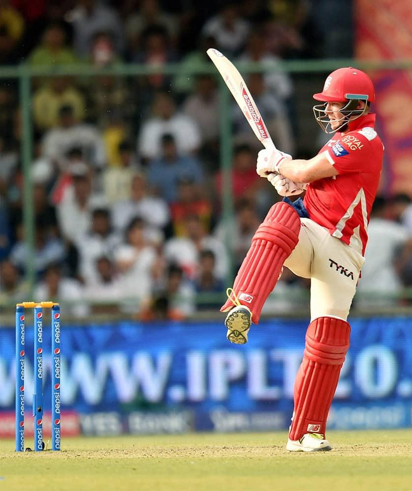 Kings XI Punjabs batsman David Miller plays a shot against Delhi Daredevils during their IPL match in New Delhi.
