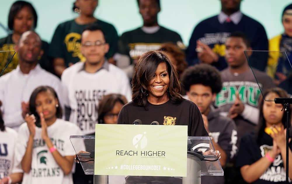 First lady Michelle Obama speaks at Detroit's first-ever citywide College Signing Day, at Wayne State University in Detroit.