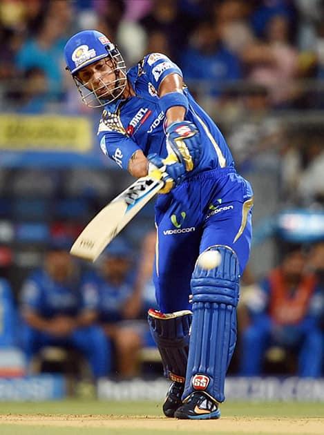 Mumbai Indians batsman Simmons plays a shot during the IPL match against Rajasthan Royals in Mumbai.