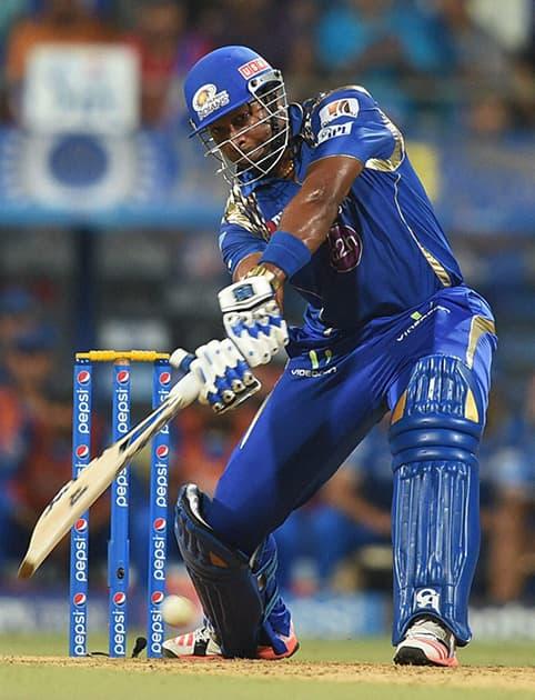 Mumbai Indians batsman K Pollard plays a shot during an IPL match against Rajasthan Royals in Mumbai.