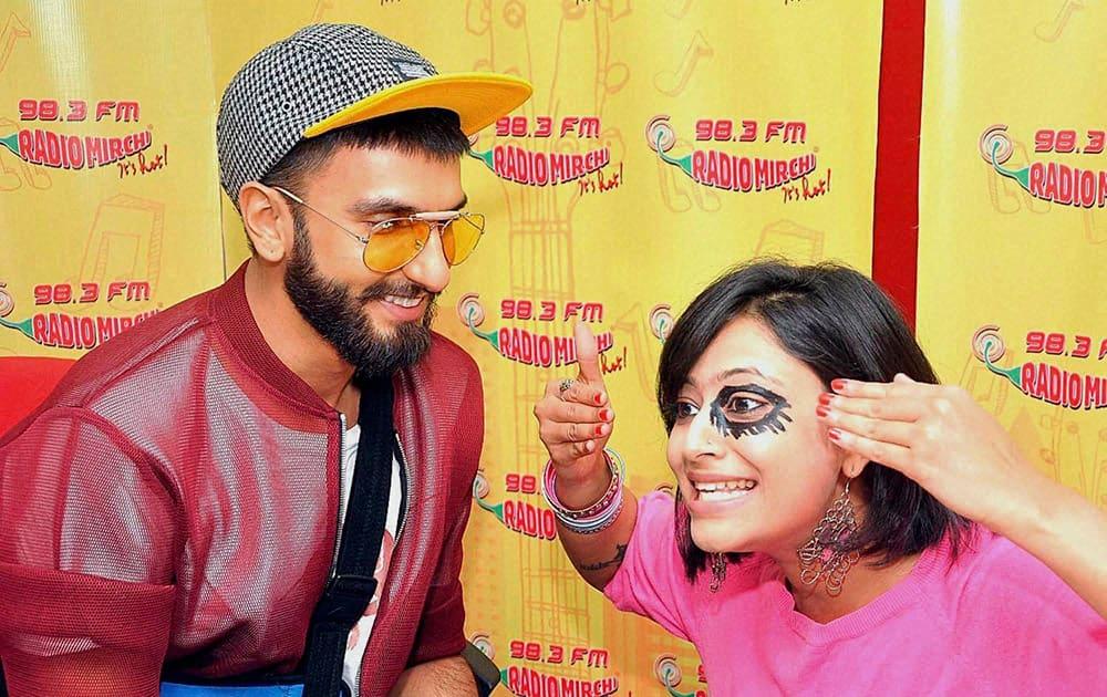Ranveer Singh promotes his film Dil Dhadakne Do at an FM radio studio in Mumbai.