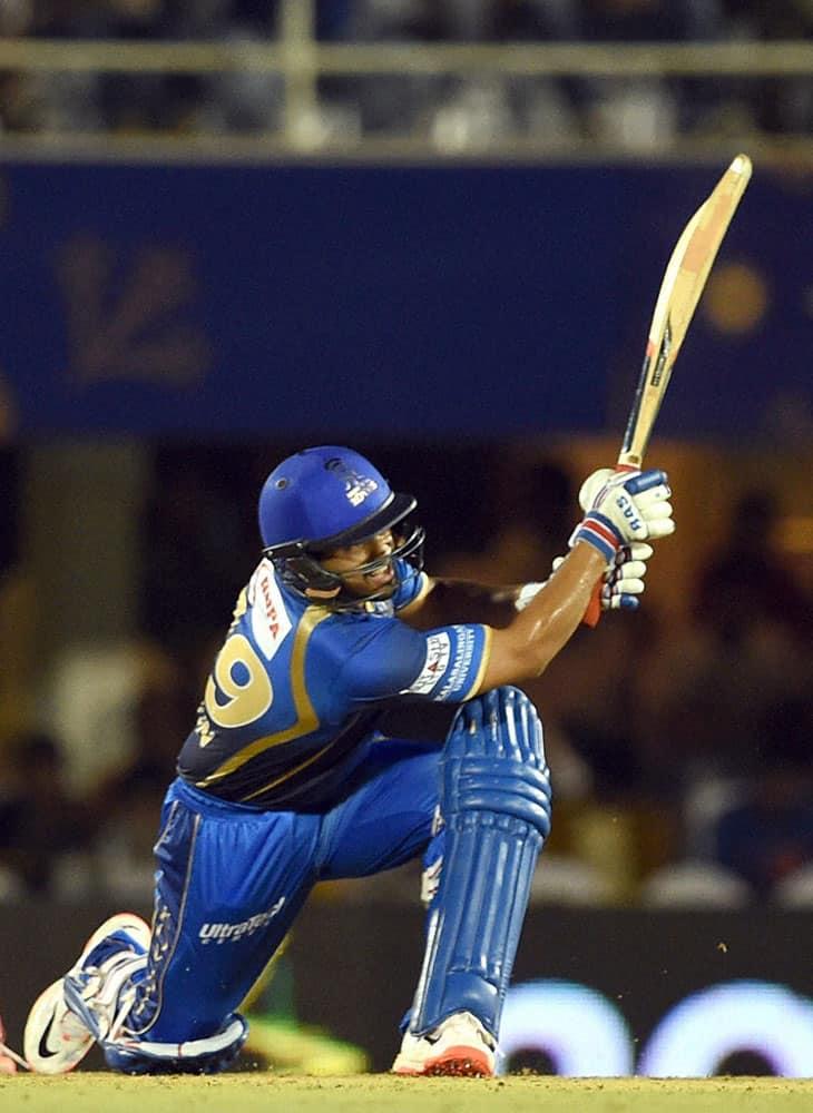 Rajasthan Royals player Karun Nair plays a shot during an IPL match in Mumbai .