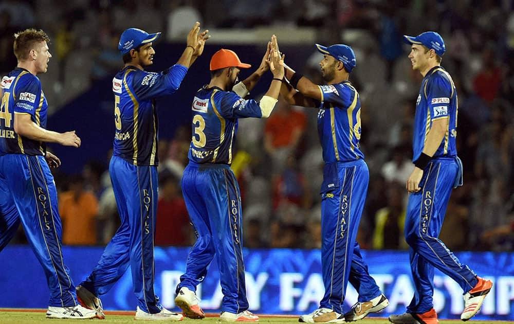 Rajasthan Royals players celebrates the wicket of DDs Yuvraj Singh during an IPL match in Mumbai.