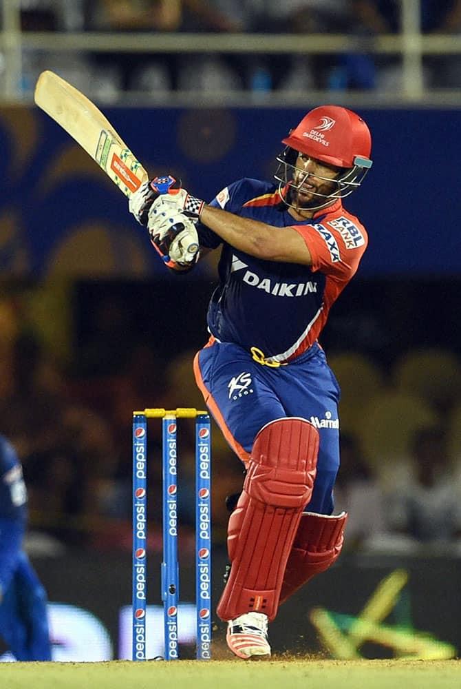 Delhi Daredevils player J P Duminy plays a shot during an IPL match in Mumbai.