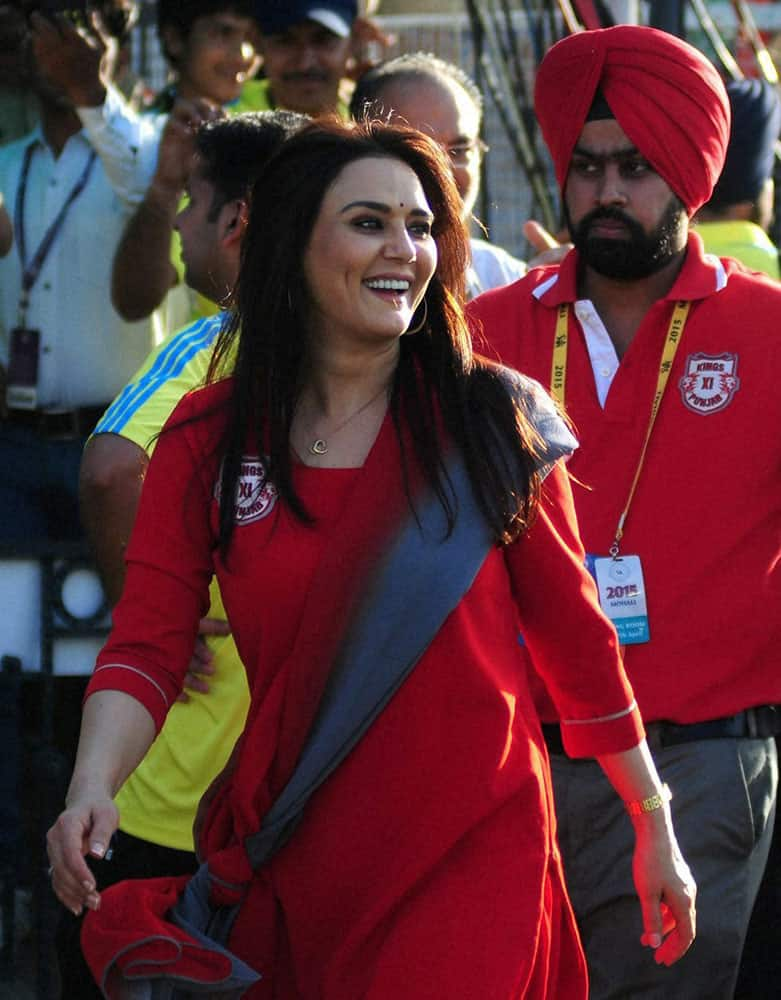 Kings XI Punjab Co-owner Preity Zinta during IPL match between The Kings XI Punjab and The Mumbai Indians in Mohali.