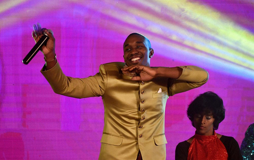 West Indies all-rounder Dwayne Bravo dancing during the launch of a new song called 'Chalo Chalo at an event in Chennai.