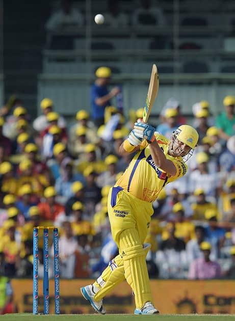 Chennai Super Kings' player Suresh Raina plays a shot during the IPL match against Royal Challengers Bangalore at MAC Stadium in Chennai.
