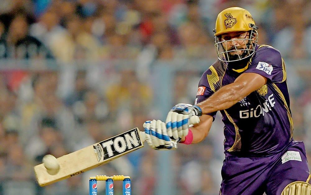KKR batsman Yusuf Pathan plays a shot during IPL Match against SRH at Eden Garden in Kolkata.