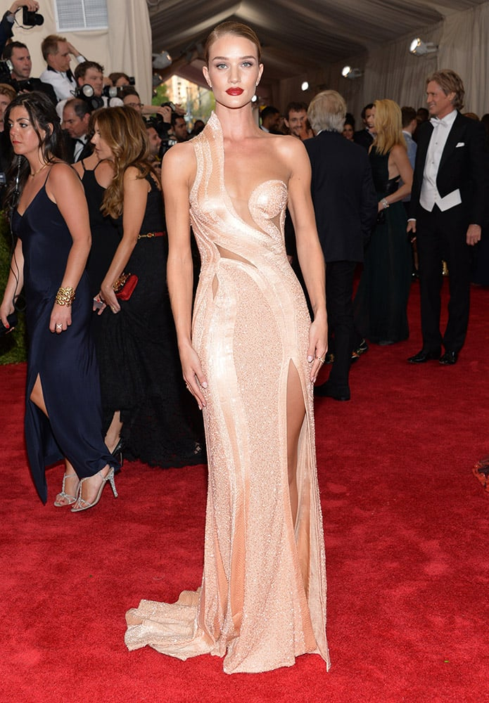 Rosie Huntington-Whiteley arrives at The Metropolitan Museum of Art's Costume Institute benefit gala celebrating 'China: Through the Looking Glass', in New York.